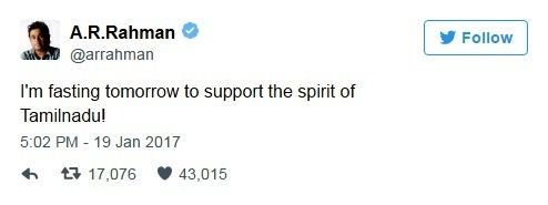 A. R. Rahman tweet for Jallikattu