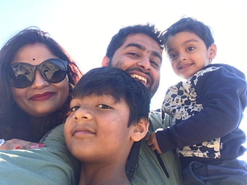 Koel Roy with her sons and husband Arijit Singh