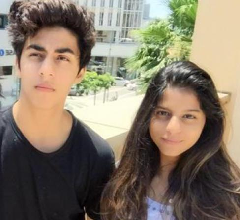 Aryan Khan with his sister