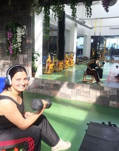 Chitra Tripathi doing workout