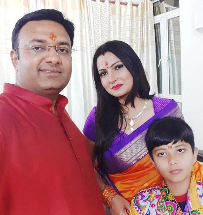Chitra Tripathi with her husband and son