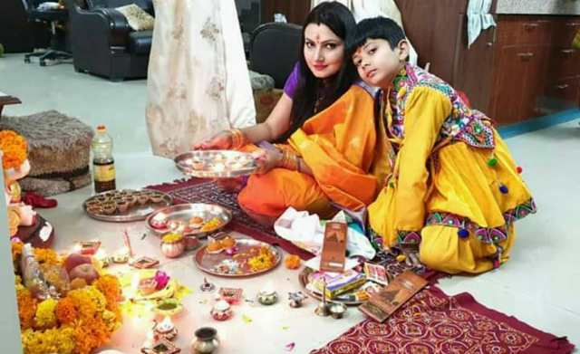 Chitra Tripathi with her son
