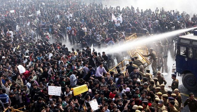 Protesters shot with water cannons