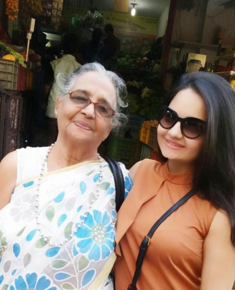 Giaa Manek with her grandmother