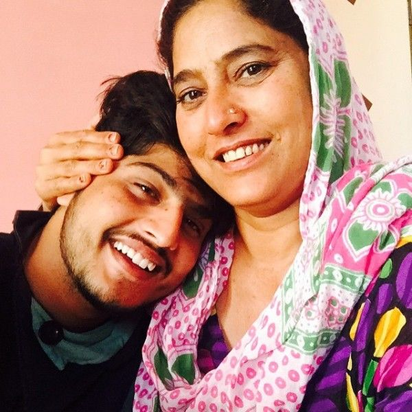 Gurnam Bhullar with his mother