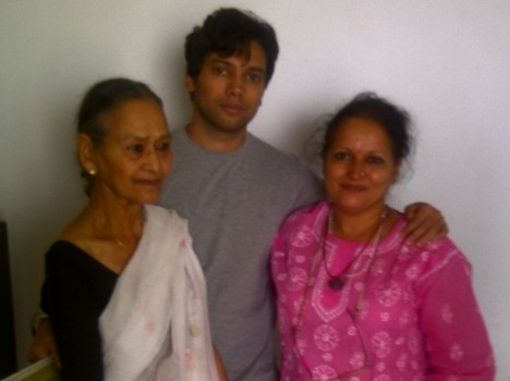 Himani Shivpuri with her mother and son