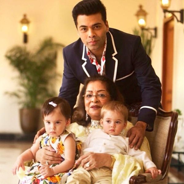 Hiroo With Her Son Karan Johar And Her Grandchildren Roohi And Yash