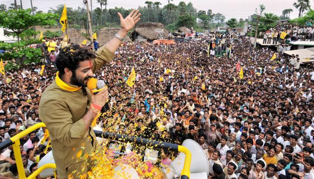 Jr. NTR while campaining for the elections