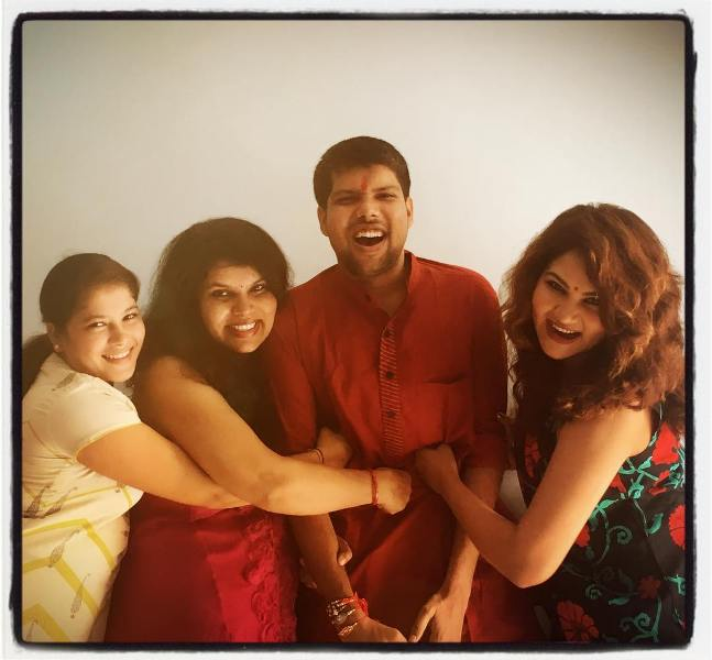Kamna Pathak with her siblings