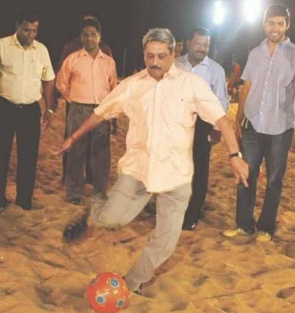 Manohar Parrikar Playing Footbal On A Local Beach In Goa