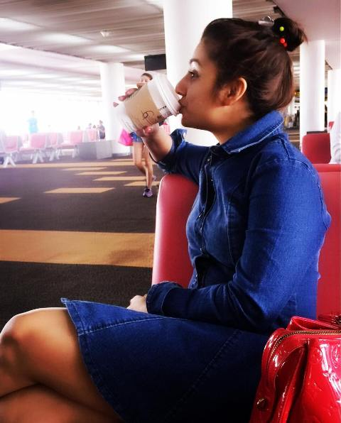 Neha Marda drinking coffee