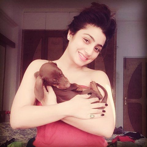 Neha Marda with her pet dog