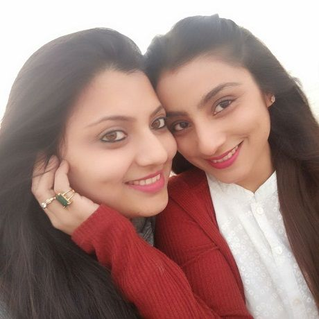 Neha Marda with her sister