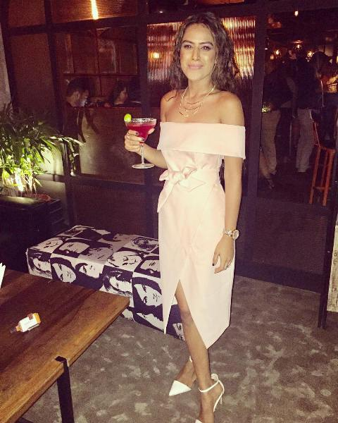 Nia Sharma with a glass of margarita