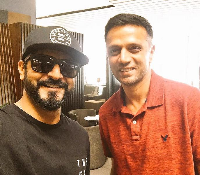 Nikhil Chinapa with Rahul Dravid