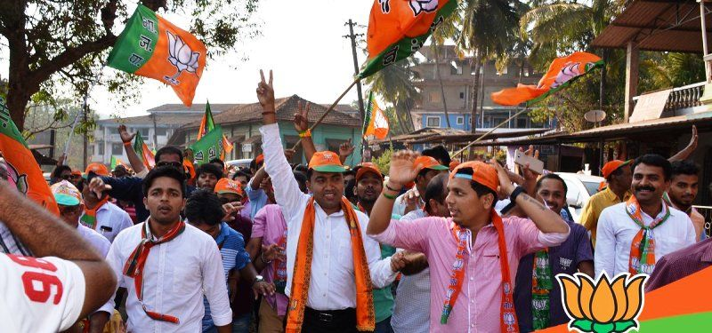 Pramod Sawant Campaigning In His Constituency