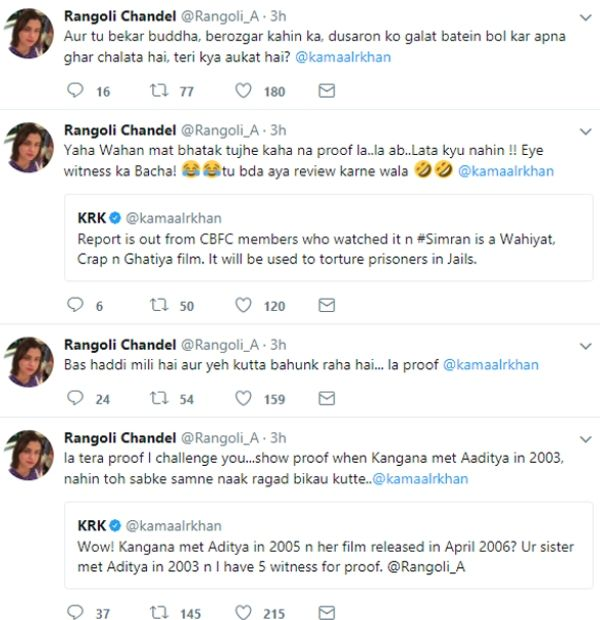 Rangoli On Kamaal Rashid Khan Tweets