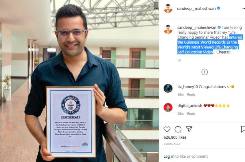 Sandeep Maheshwari's Instagram post about his 'Life Changing Seminar Video' that entered the Guinness World Records in July 2021