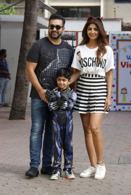 Shilpa Shetty With Her Husband Raj And Son Viaan
