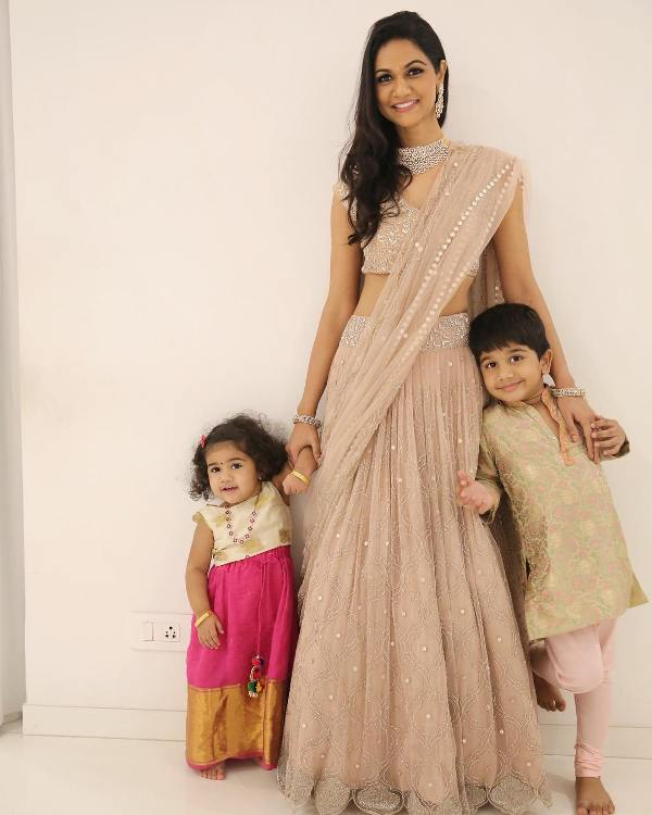 Sneha Reddy with her son and daughter