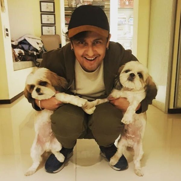 Sonu Nigam With His Two Dogs Goggles Nigam And Shifu Nigam