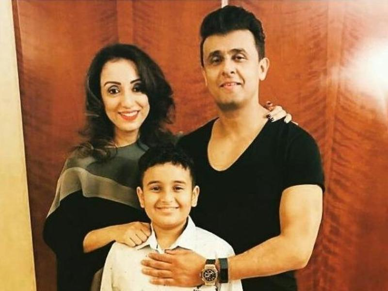 Sonu Nigam With His Wife Madhurima And Son Nevaan
