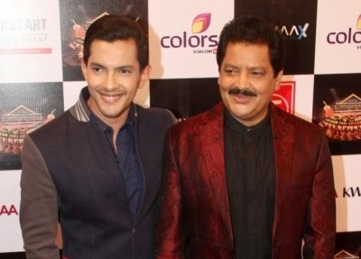 Aditya Narayan with his father