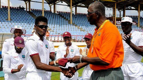 Alzarri Joseph Given The West Indies Cap In His Debut By Former Cricketer Joel Garner