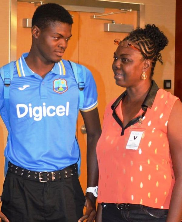 Alzarri Joseph with His Mother Sharon Joseph