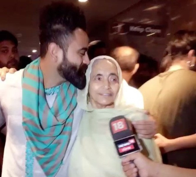 Amrit Maan with his grandmother