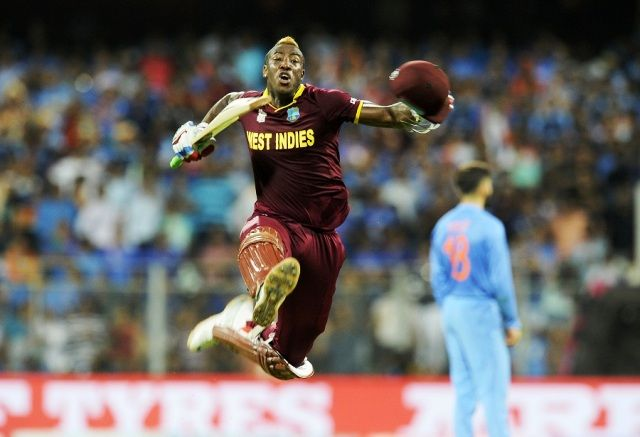 Andre Russell celebrating Windies' Victory