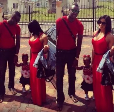 Andre Russell with his wife and daughter