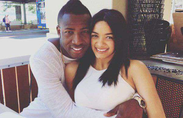 Andre Russell with his wife