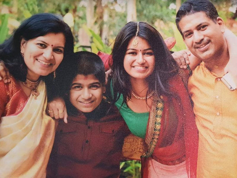 Aparajita Sarangi With Her Husband Santosh Sarangi, Her Son Shikhar Sarangi, And Her Daughter Archita Sarangi