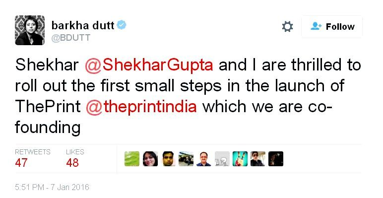 Barkha Dutt's Tweet About Launching The Print With Shekhar Gupta