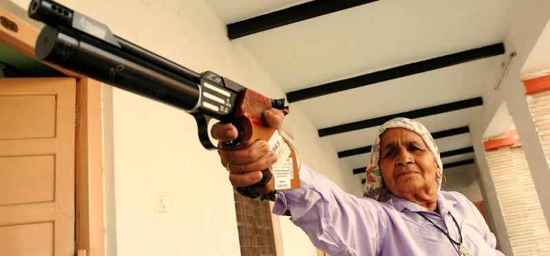 Chandro Tomar with her pistol