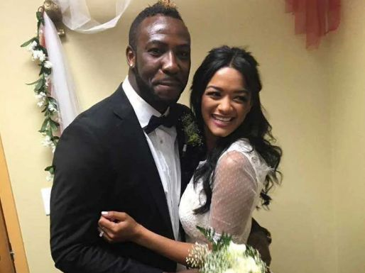 Jassym Lora with her husband, Andre Russell