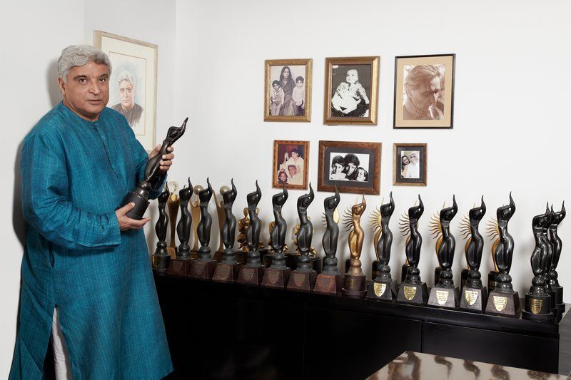 Javed Akhtar With His Filmfare Awards