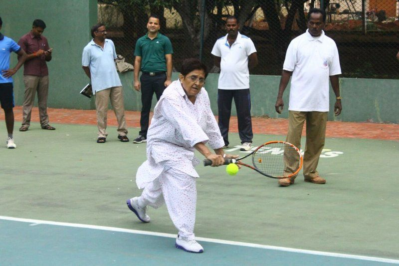 Kiran Bedi playing Lawn Tennis