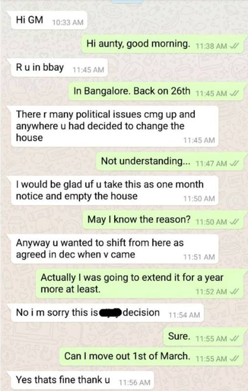 Kunal Kamra's whatsapp conversation with his landlady