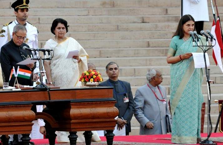 Maneka Gandhi Taking Her Oath As The Union Minister For Women & Child Development