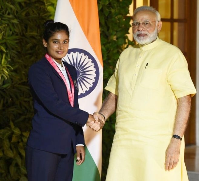 Mithali Raj With PM Narendra Modi