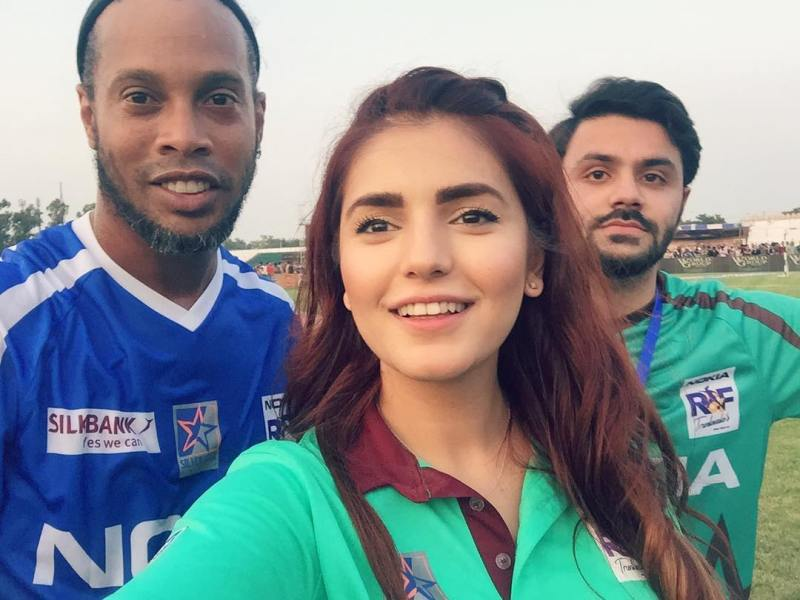 Momina with Ronaldinho
