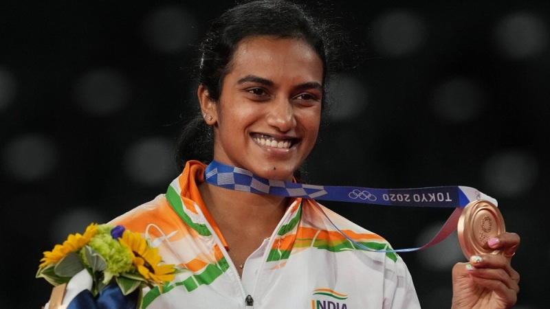 P. V. Sindhu after winning Bronze at the 2020 Tokyo Olympics