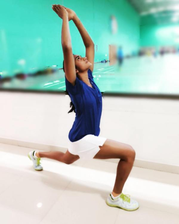 P. V. Sindhu doing yoga