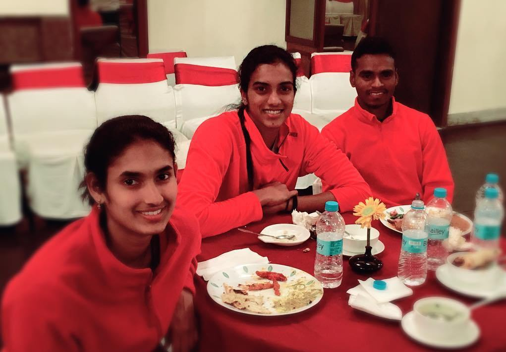 P. V. Sindhu having food