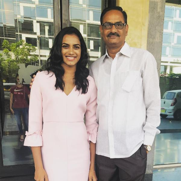 P. V. Sindhu with her father