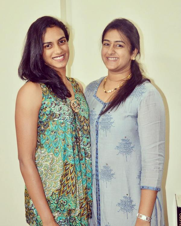 P. V. Sindhu with her sister
