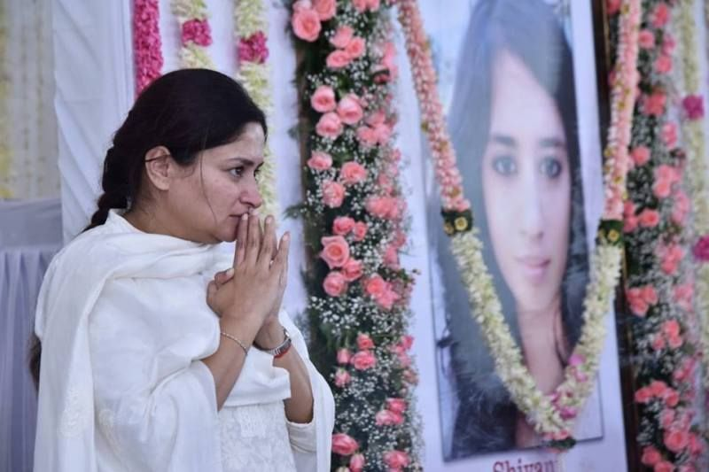 Poonamben Maadam At The Last Rites Of Her Daughter, Shivani