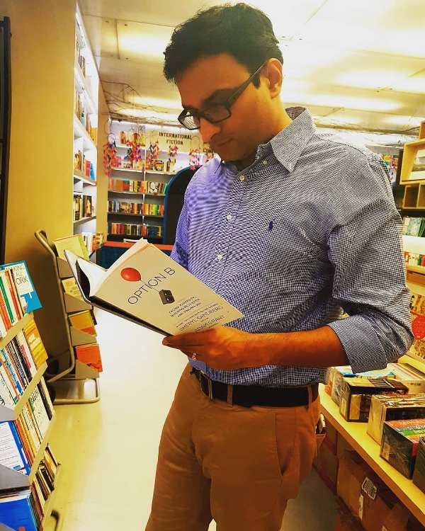 Prasanth Nair reading a book